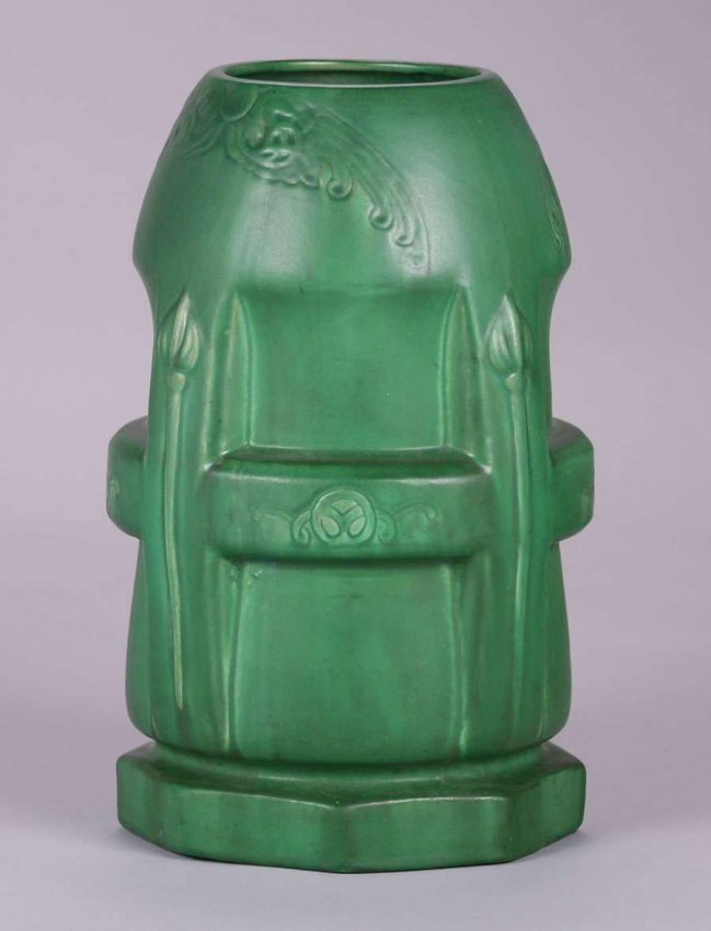 Large Owens Pottery Matte Green Buttress Vase c1910 - 2