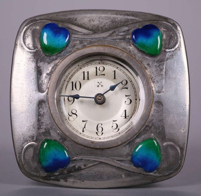 Liberty & Co Pewter Clock with Enamel Hearts - 2