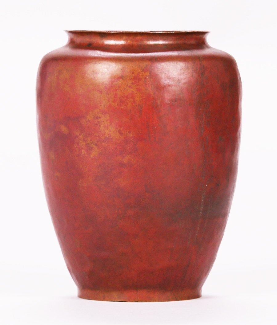 Dirk van Erp Hammered Copper Red Warty Vase