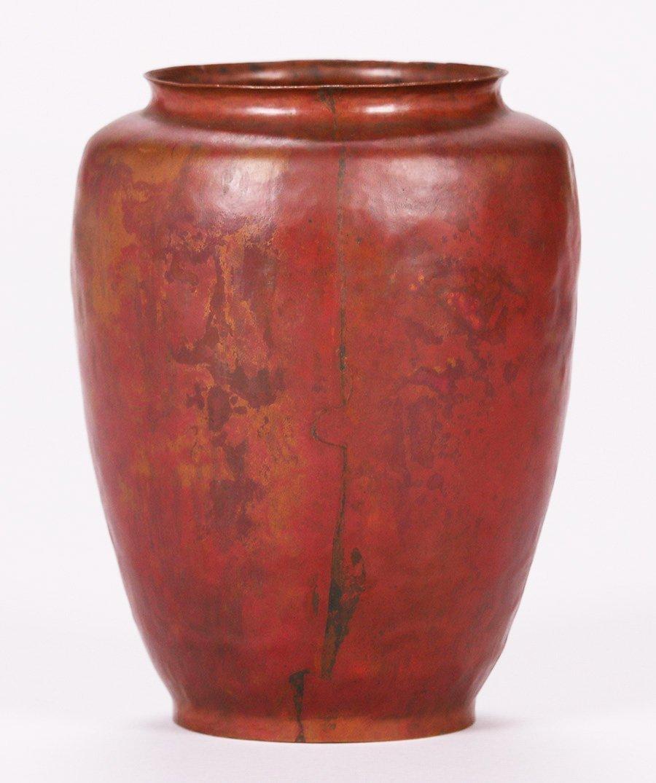 Dirk van Erp Hammered Copper Red Warty Vase - 2