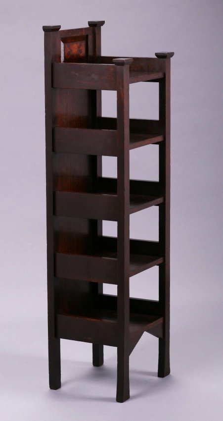Early Stickley Brothers Inlaid Magazine Stand c1901