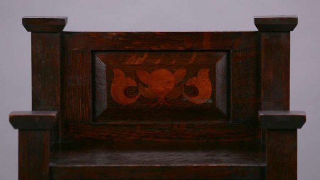 Early Stickley Brothers Inlaid Magazine Stand c1901 - 2
