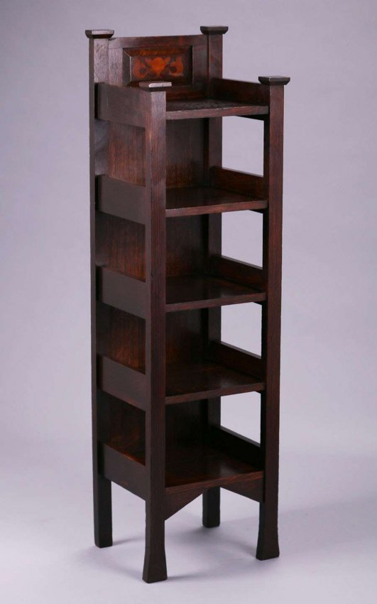 Early Stickley Brothers Inlaid Magazine Stand c1901 - 3