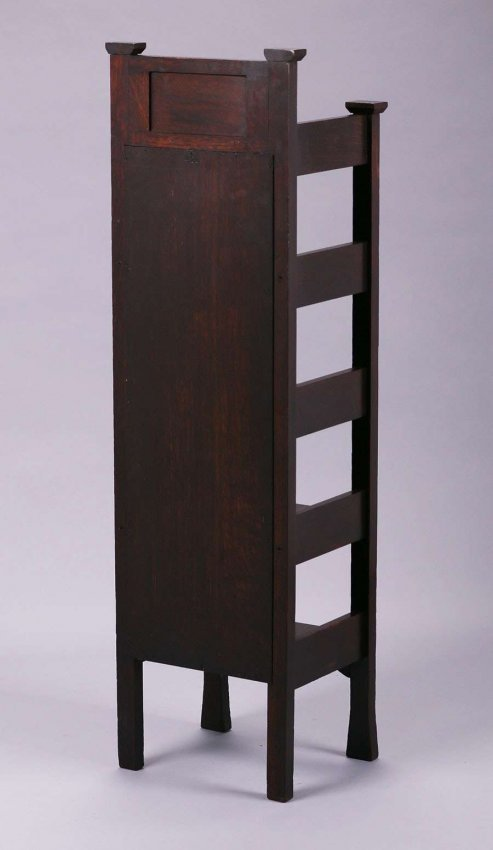 Early Stickley Brothers Inlaid Magazine Stand c1901 - 4