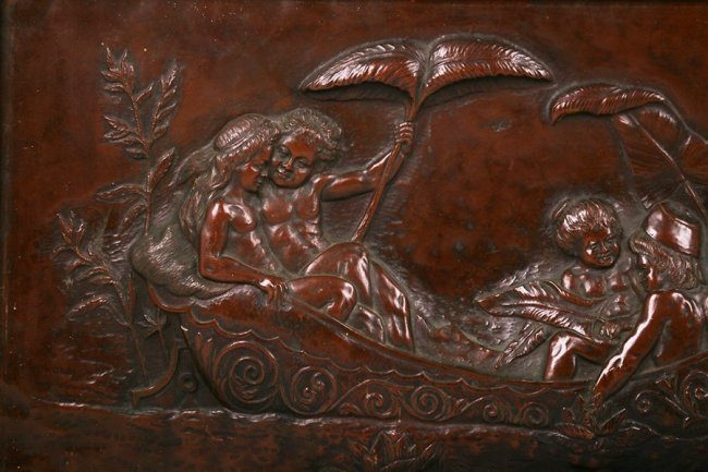 Alfred De Wolffers Hammered Copper Repousse Plaque 1907
