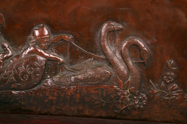 Alfred De Wolffers Hammered Copper Repousse Plaque 1907 - 4