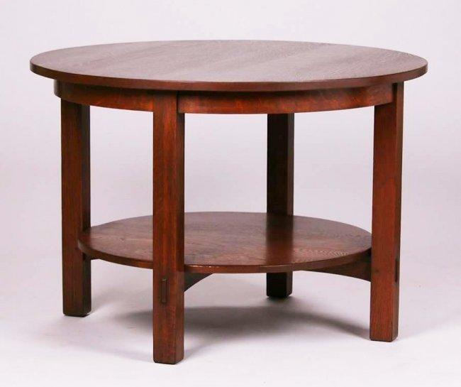 """Large L&JG Stickley 42""""d Table #543"""