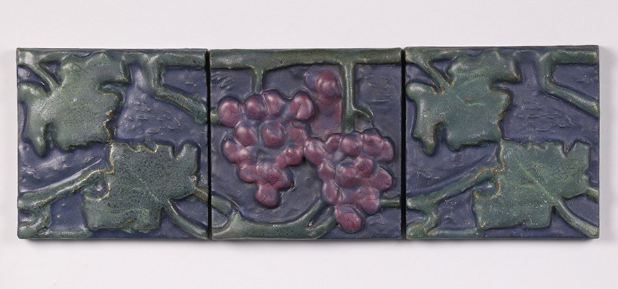 Rookwood Faience Grapevine 3 Tile Frieze #2