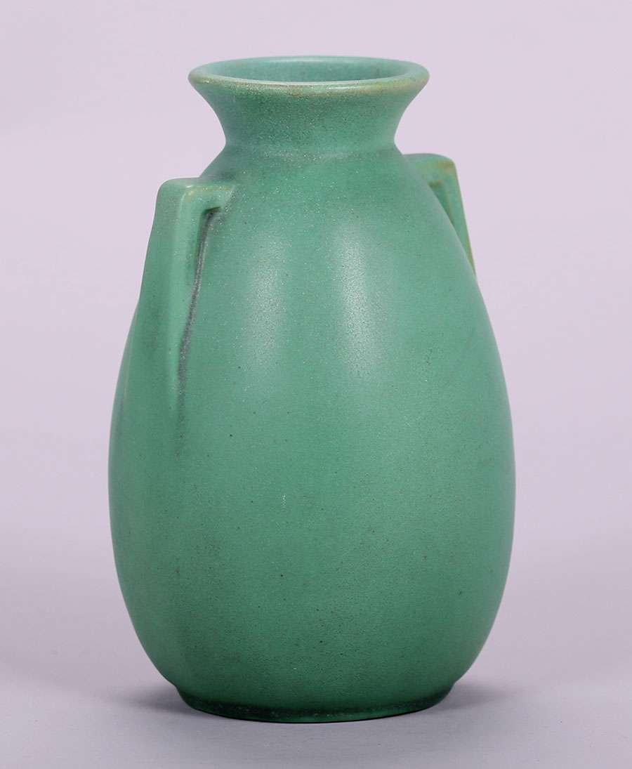 Teco Matte Green Two-Handled Vase