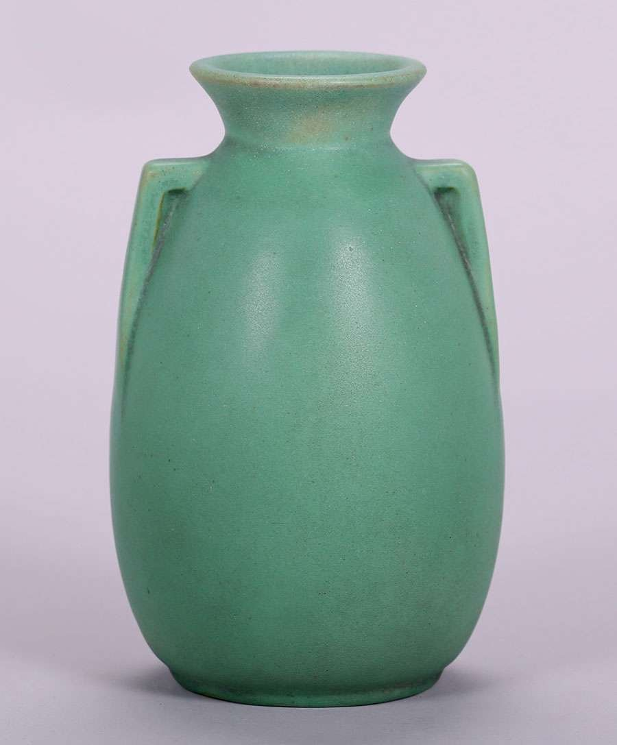 Teco Matte Green Two-Handled Vase - 4