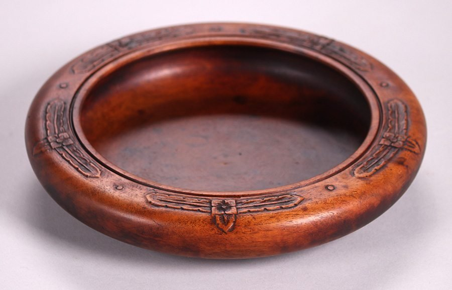 Arts & Crafts Hand-Carved Wooden Bowl c1910 - 2