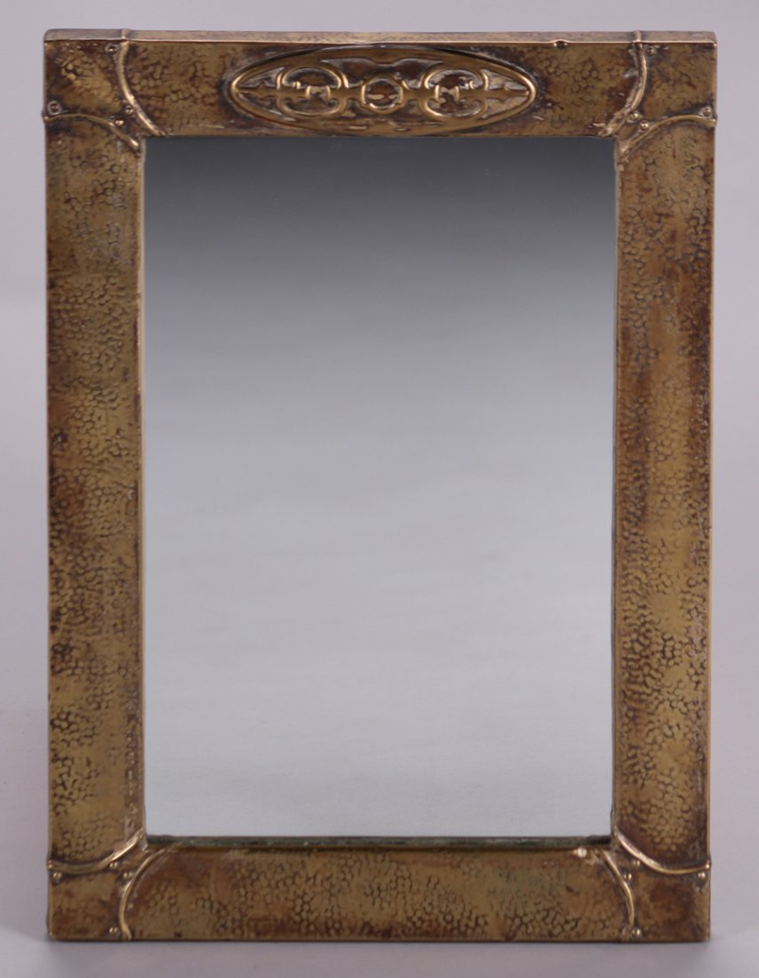 English Arts & Crafts Hammered Brass Mirror c1900