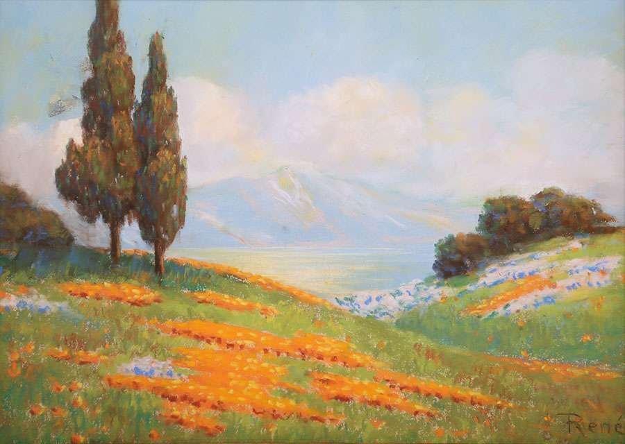 Classic California Landscape Pastel c1910