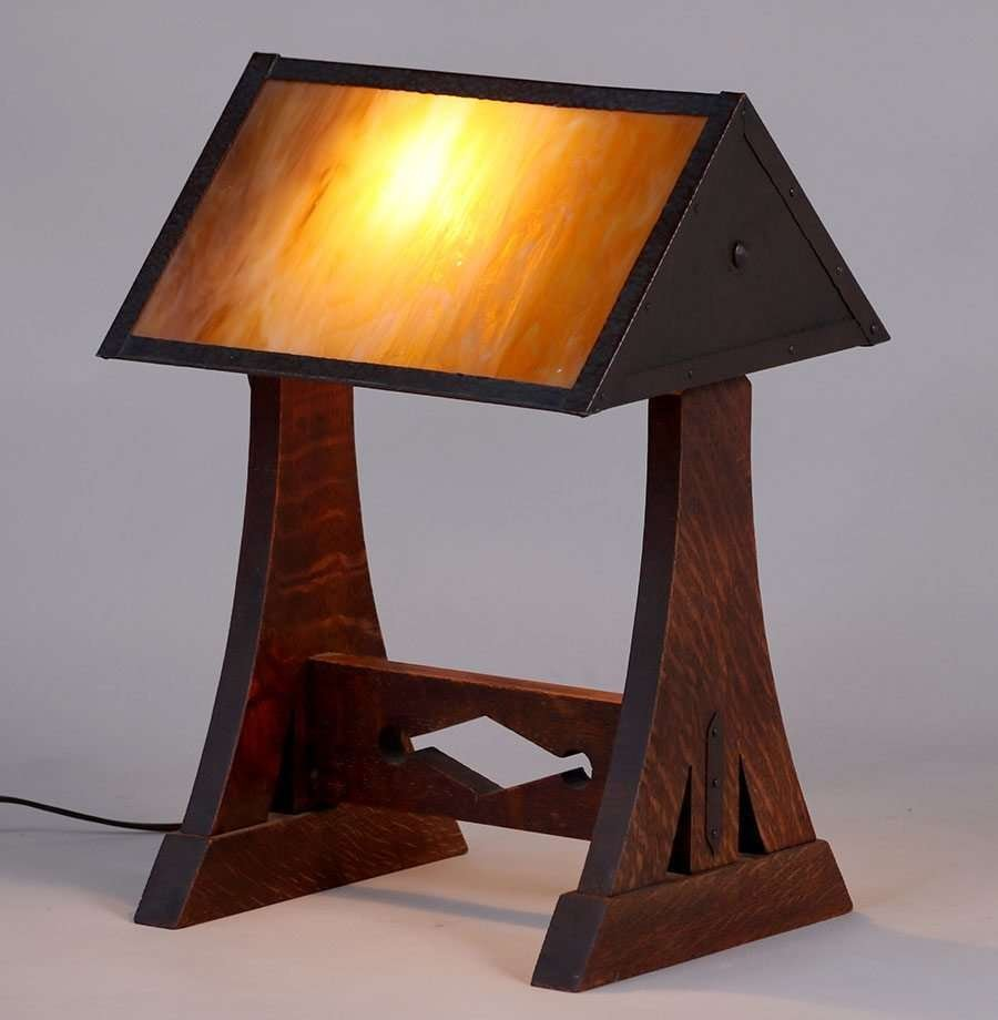 Hammered Copper & Oak Desk Lamp c1910