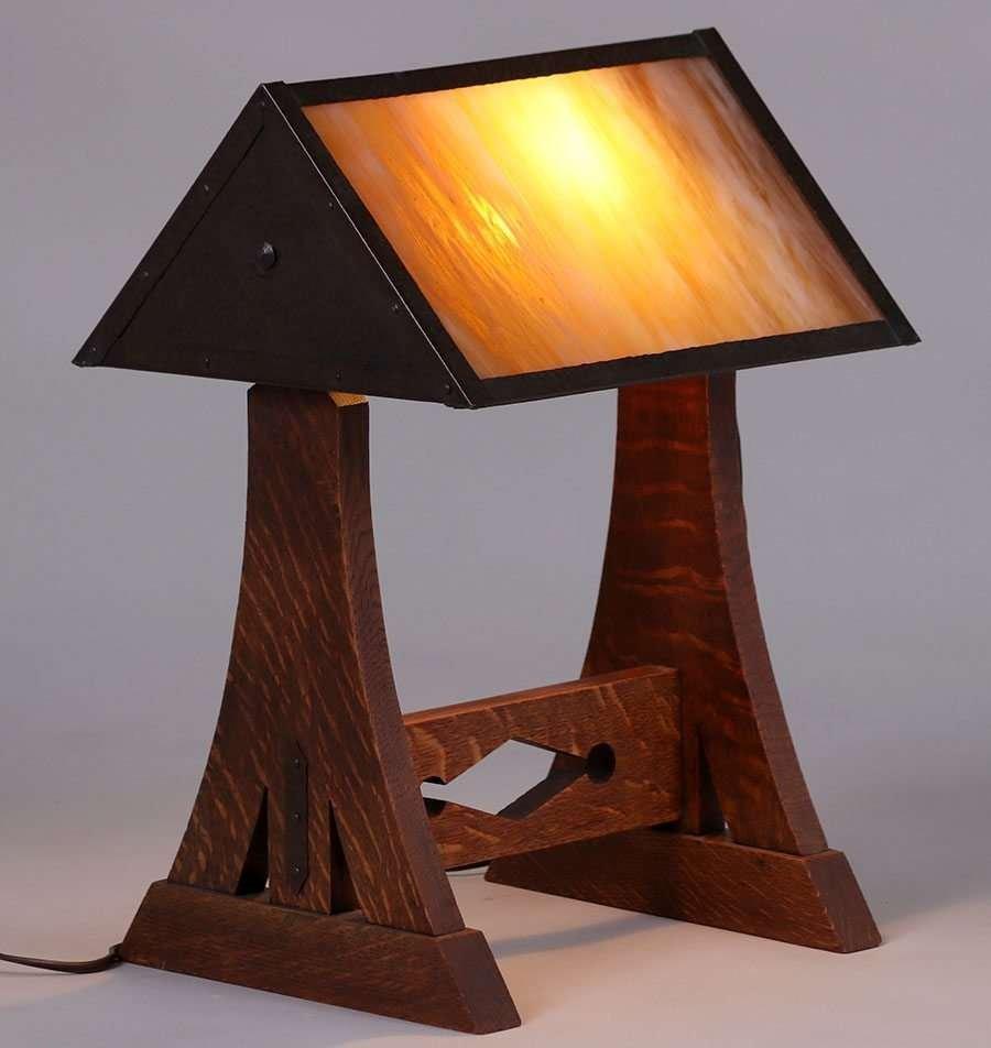 Hammered Copper & Oak Desk Lamp c1910 - 2