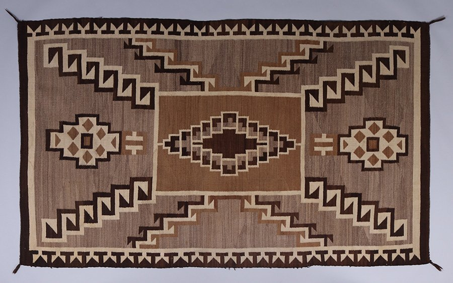 Large Navajo Two Hills Grey Rug c1920