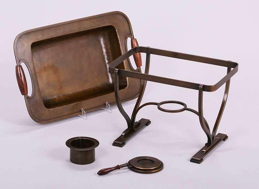 Dirk van Erp Hammered Brass Chafing Dish c1930s - 2