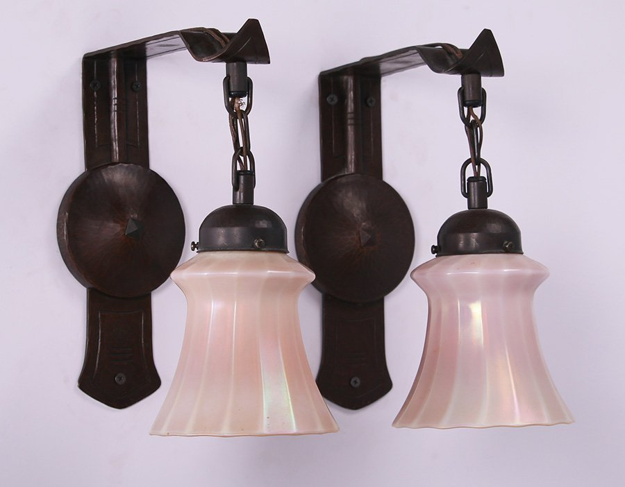 Pair Contemporary Michael Adams Hammered Copper Sconces