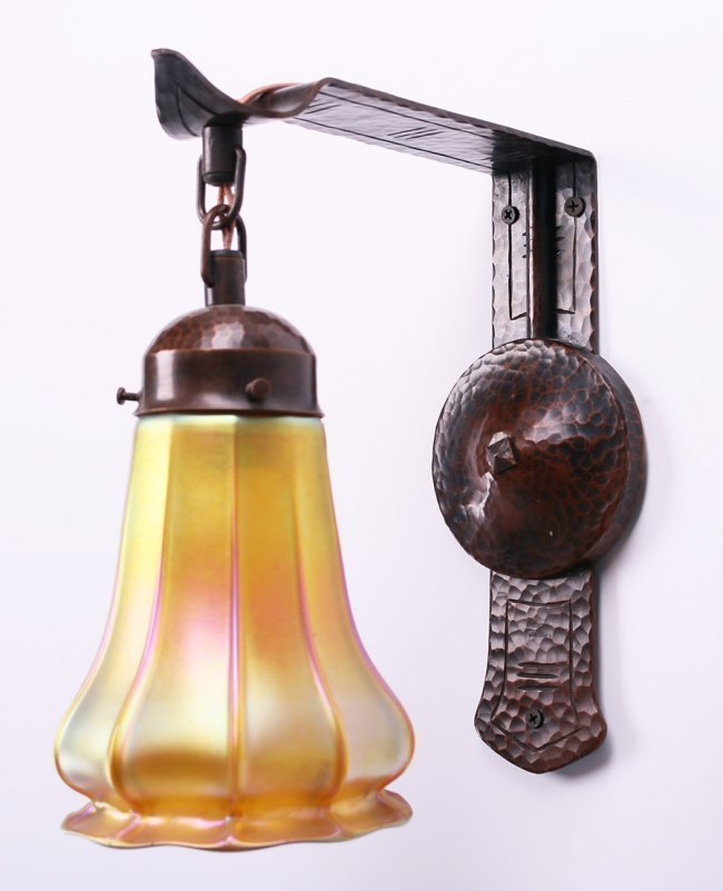 Contemporary Michael Adams Hammered Copper Sconce