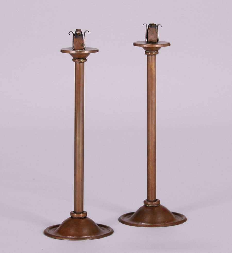 Harry Dixon Hammered Copper Tall Candlesticks c1923