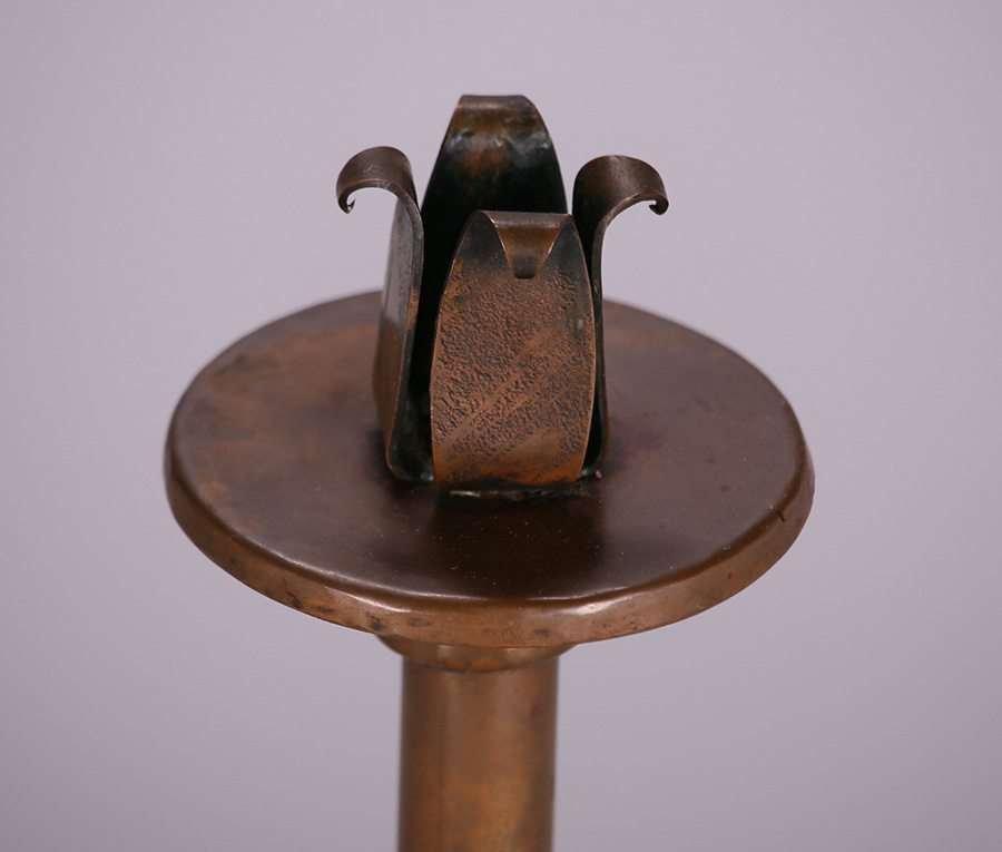 Harry Dixon Hammered Copper Tall Candlesticks c1923 - 2