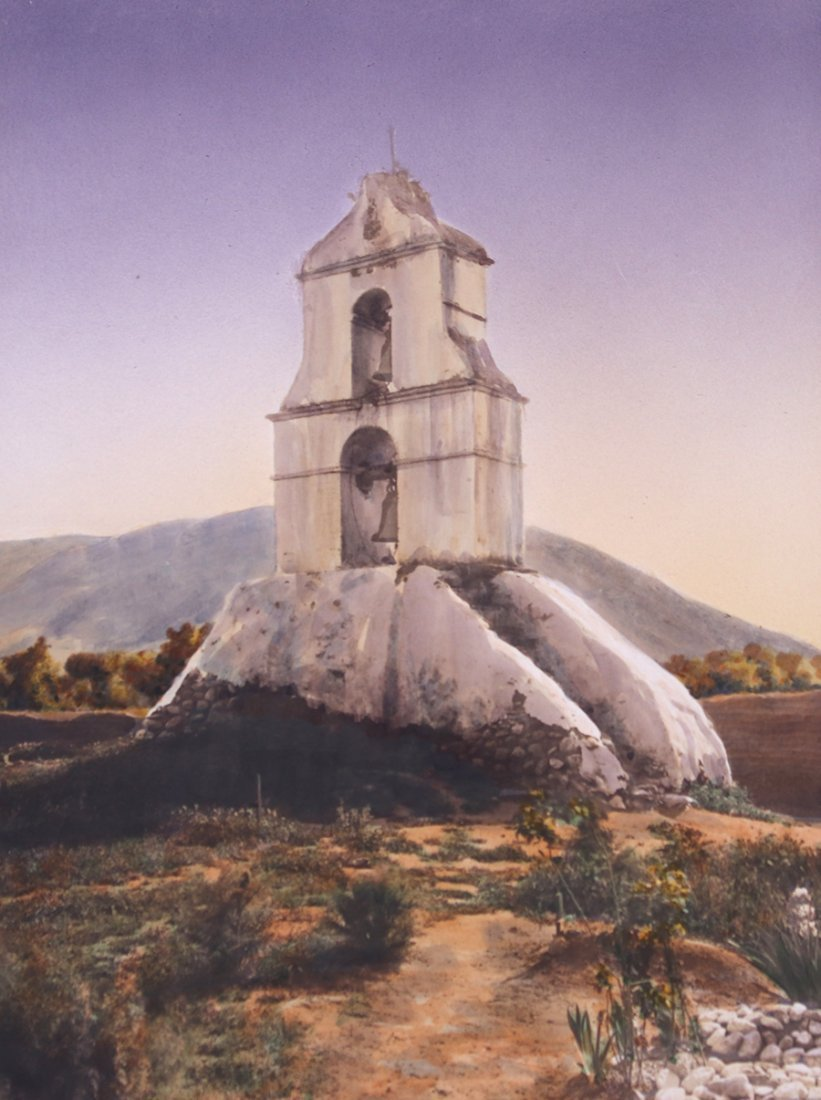 Frederick W. Martin Hand-Tinted Photo Mission Belltower