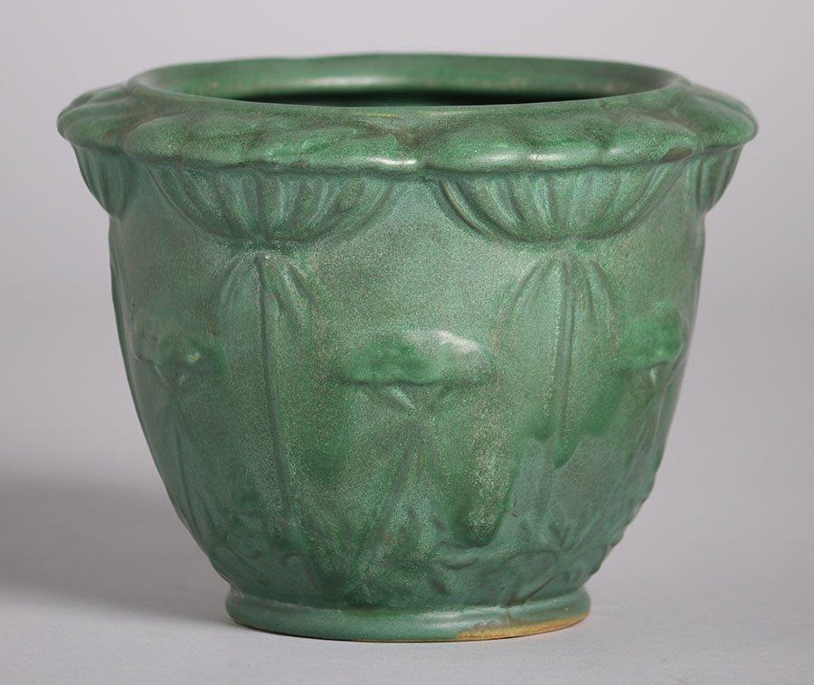 Weller Pottery Matte Green Poppy Jardiniere