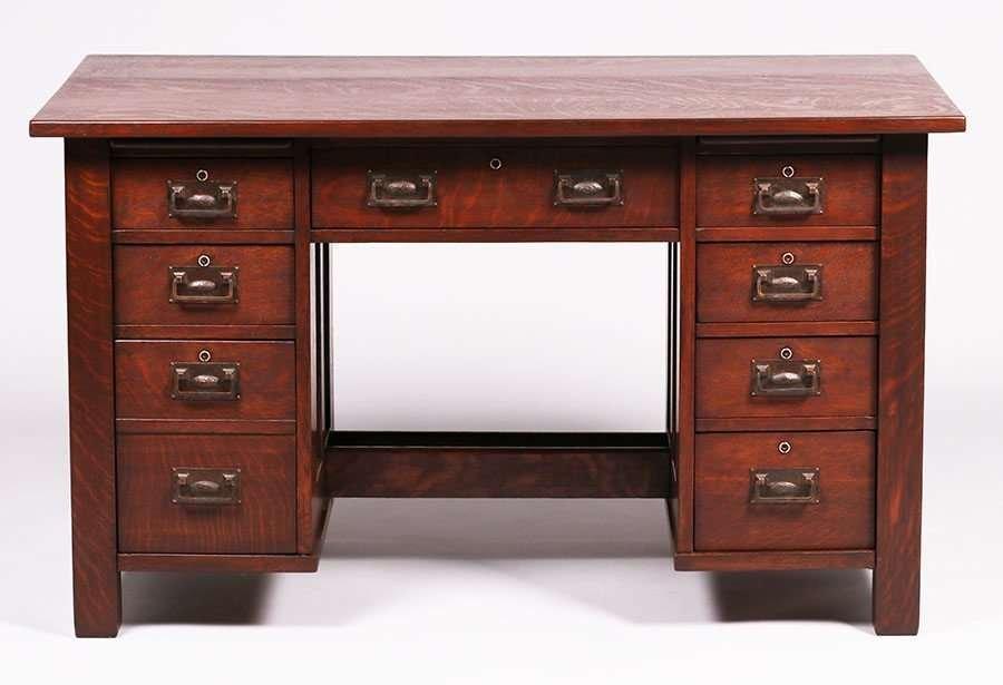 Stickley Brothers 8-Drawer Paneled Desk - 3