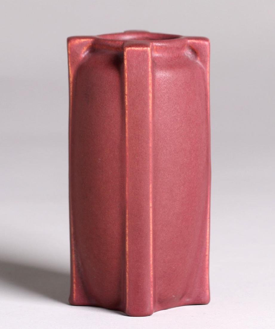 Teco Pottery Matte Red Buttress Vase