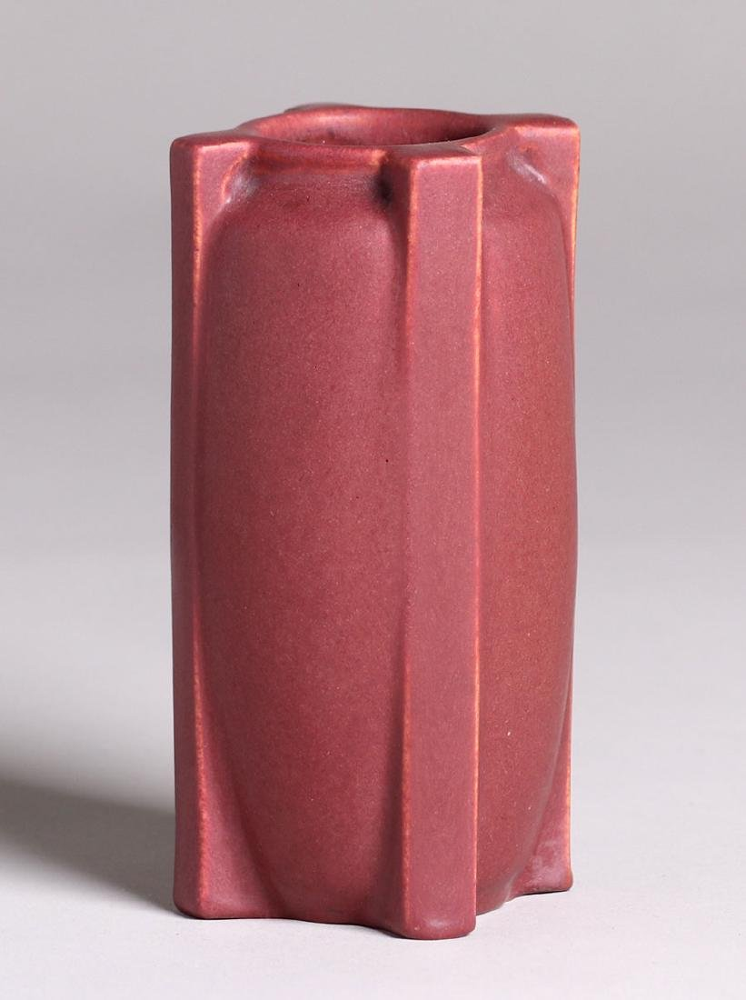 Teco Pottery Matte Red Buttress Vase - 2