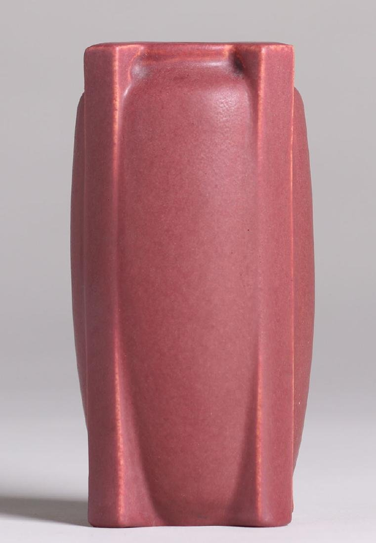 Teco Pottery Matte Red Buttress Vase - 3