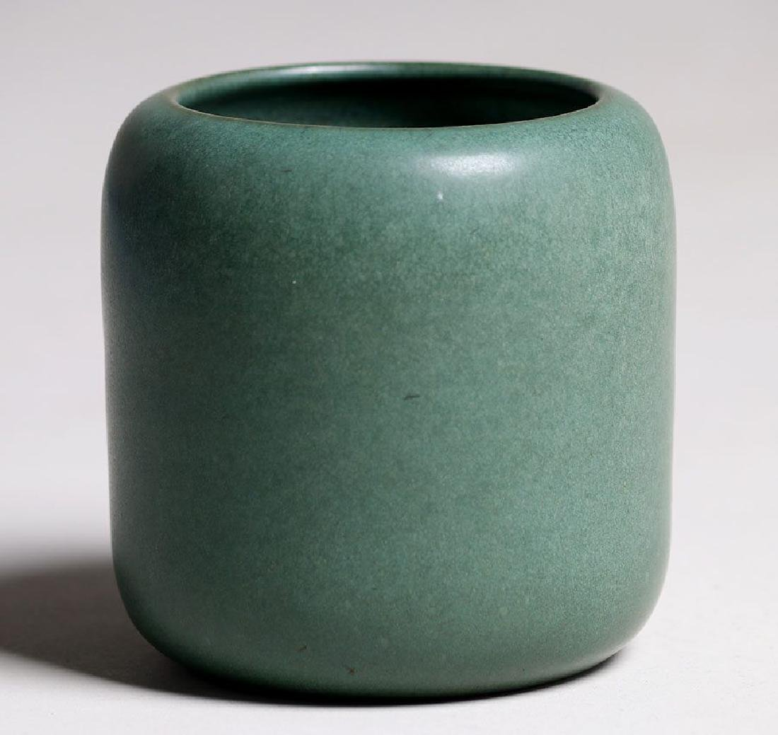 Marblehead Pottery Matte Green Cylinder Vase - 2