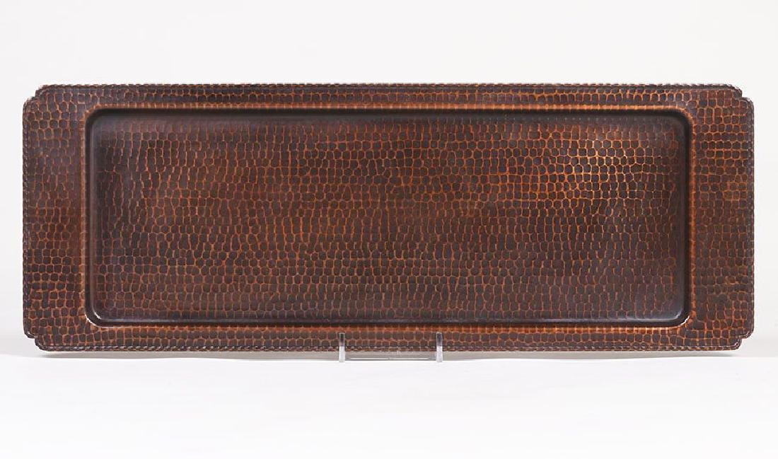 Large Roycroft Hammered Copper Rectangular Tray