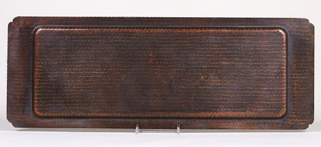 Large Roycroft Hammered Copper Rectangular Tray - 3