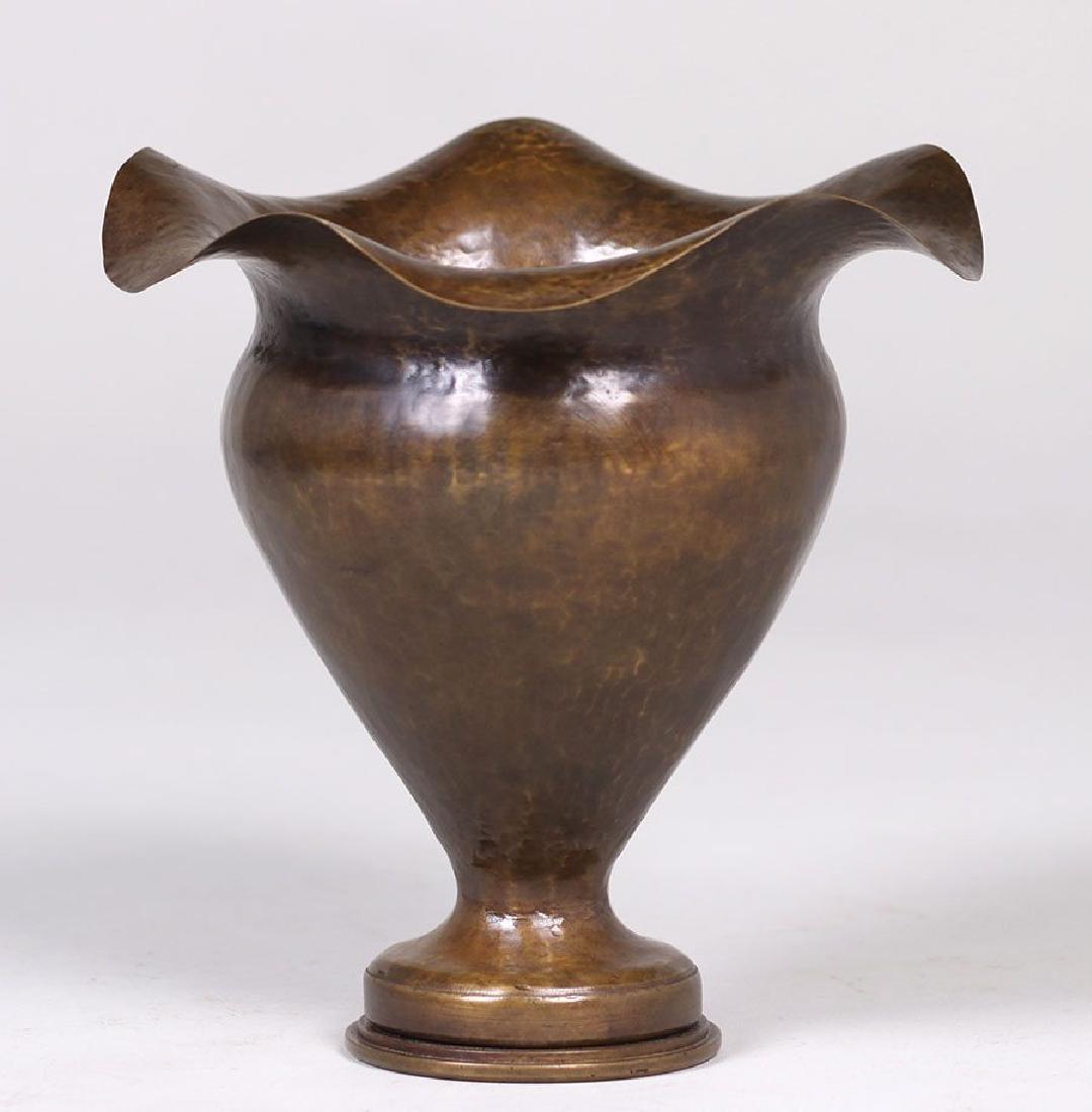 Dirk van Erp Hammered Brass Shell Casing Vase