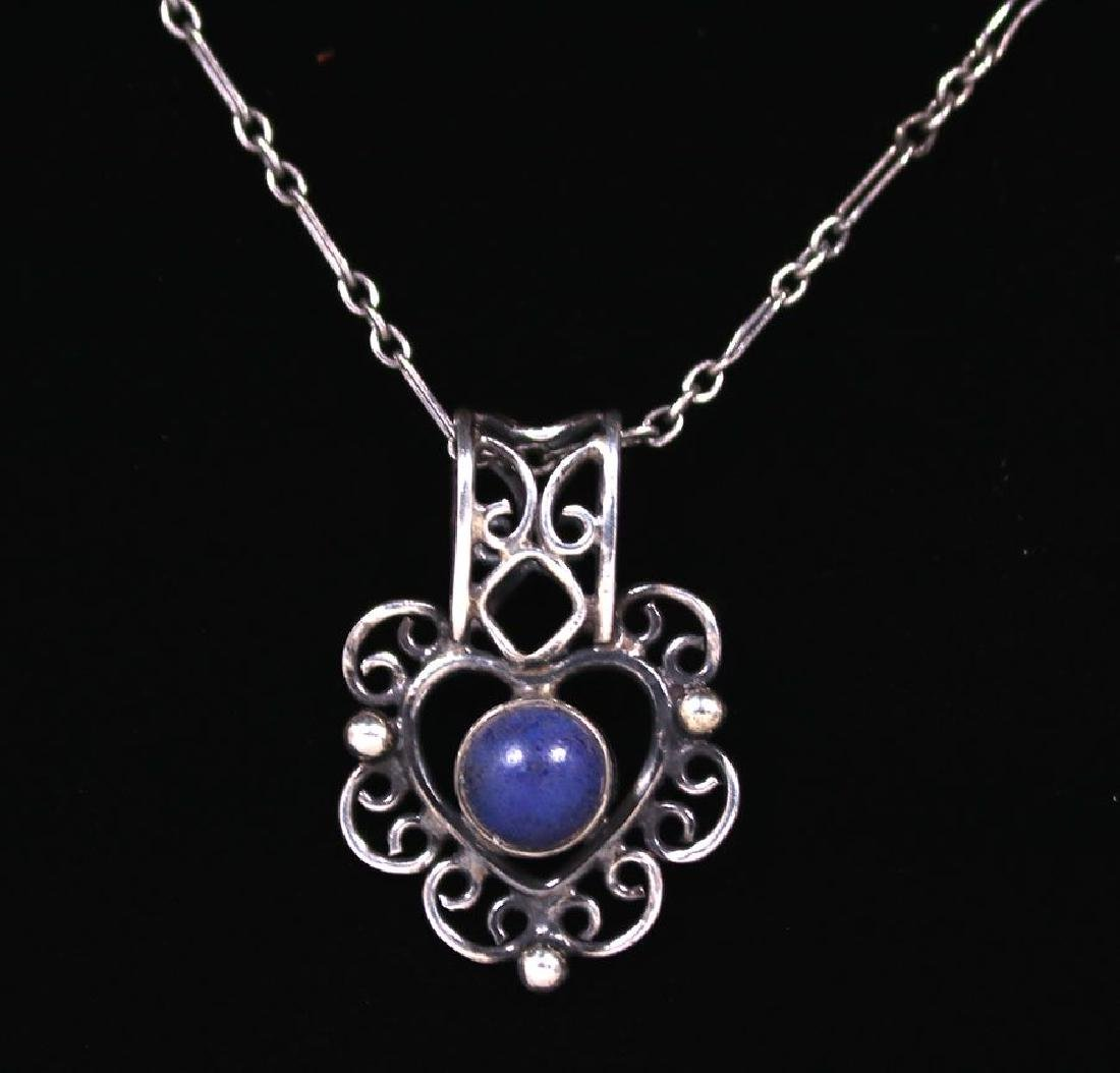 Arts & Crafts Sterling Silver and Lapis Pendant