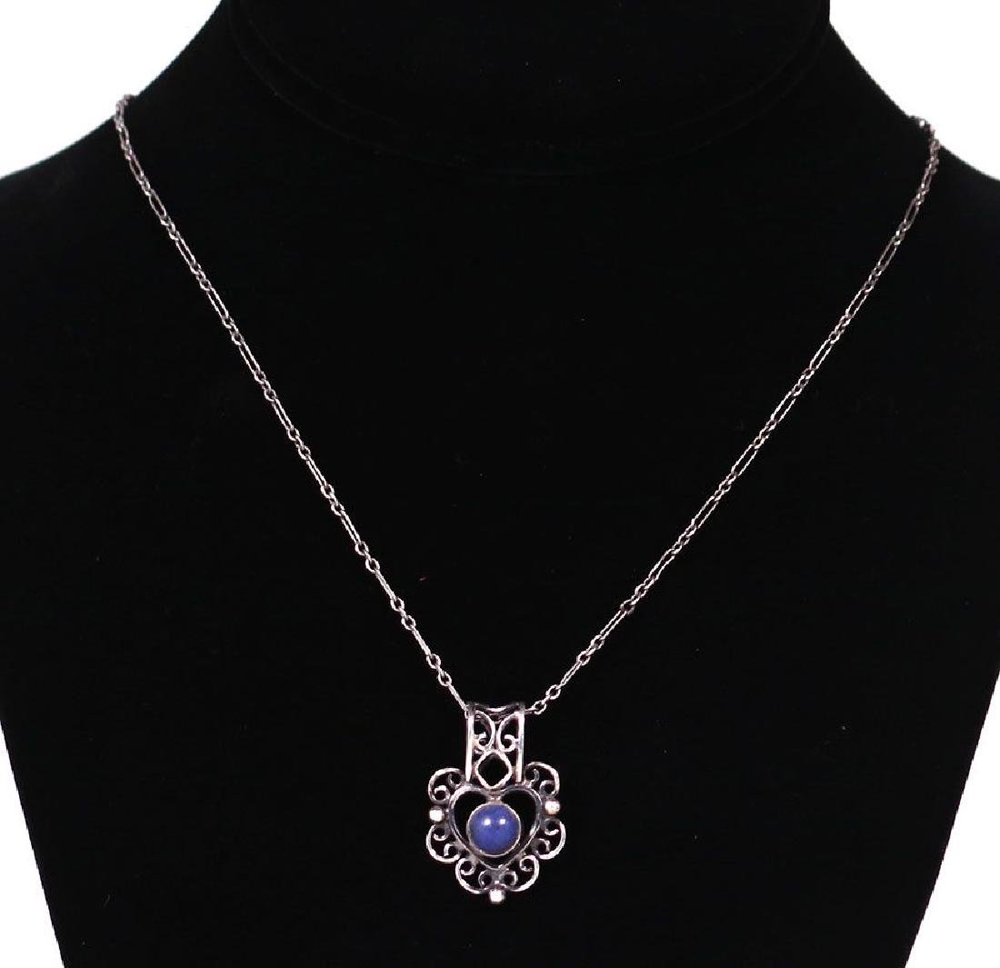 Arts & Crafts Sterling Silver and Lapis Pendant - 2