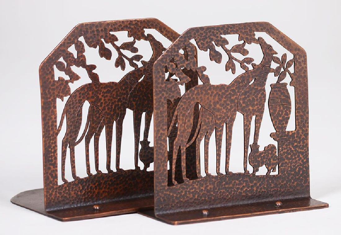 Arts & Crafts Hammered Copper Bookends w/ Greyhounds - 2