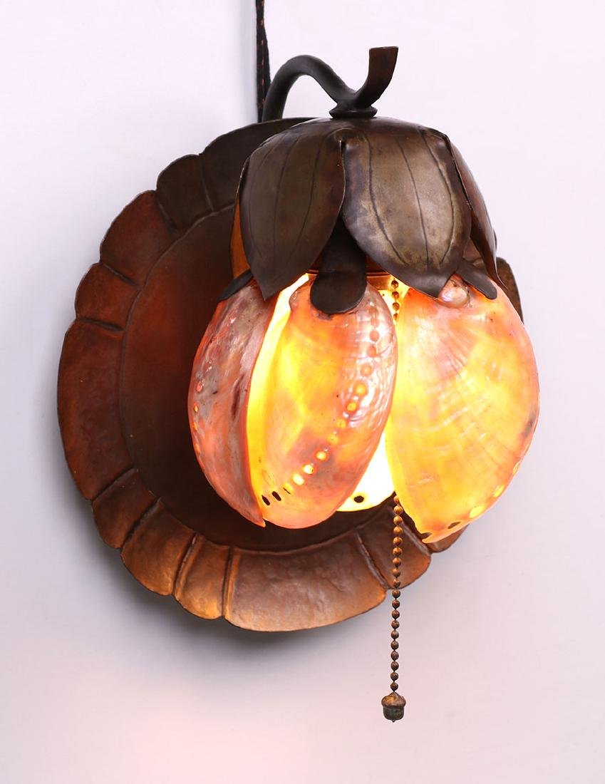 Elizabeth Eaton Burton Brass and Abalone Shell Sconce - 3