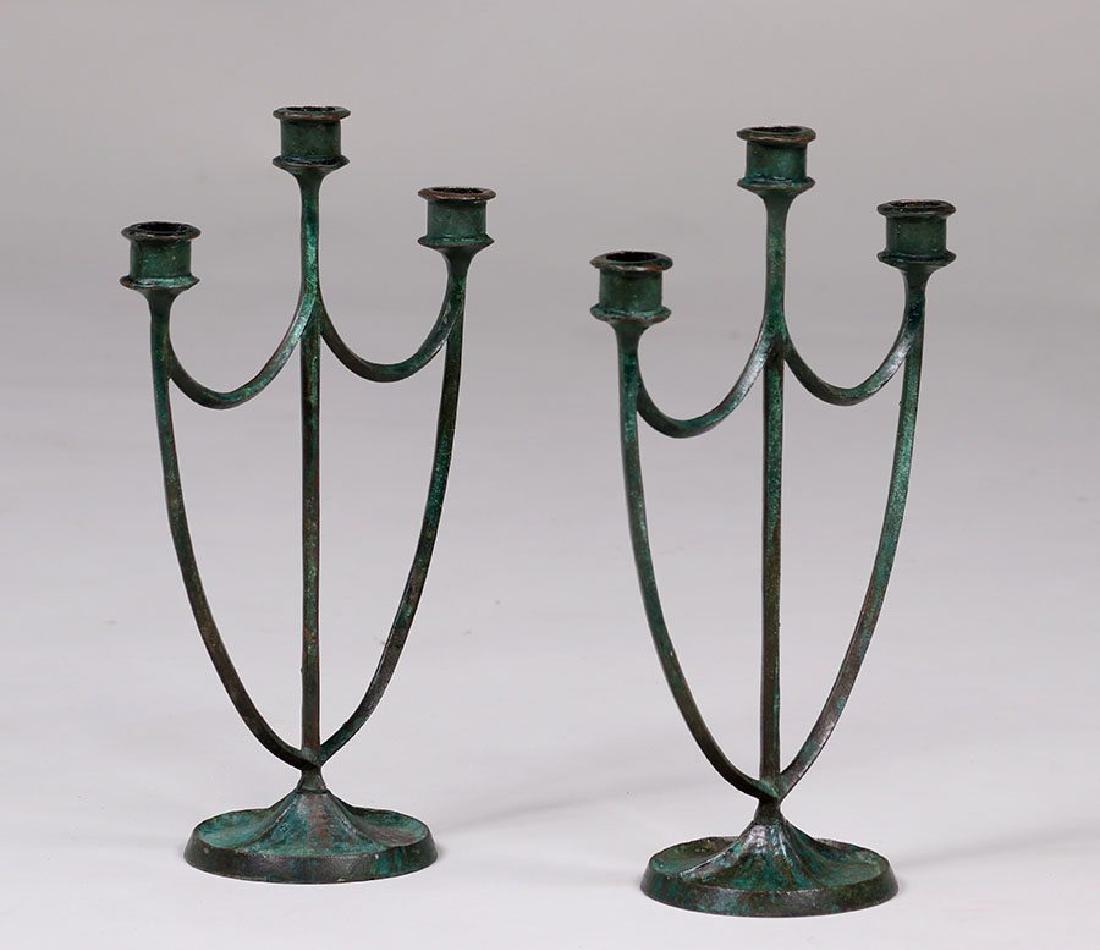 Pair E.T. Hurley Bronze Candelabras