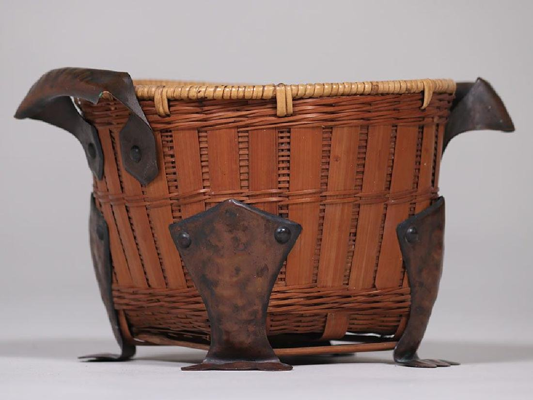 Dirk van Erp Hammered Copper on Japanese Basket - 2