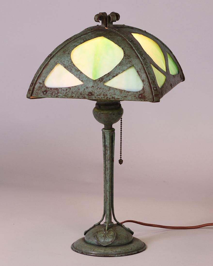 Bradley & Hubbard Lamp with Curved Green Slag Glass