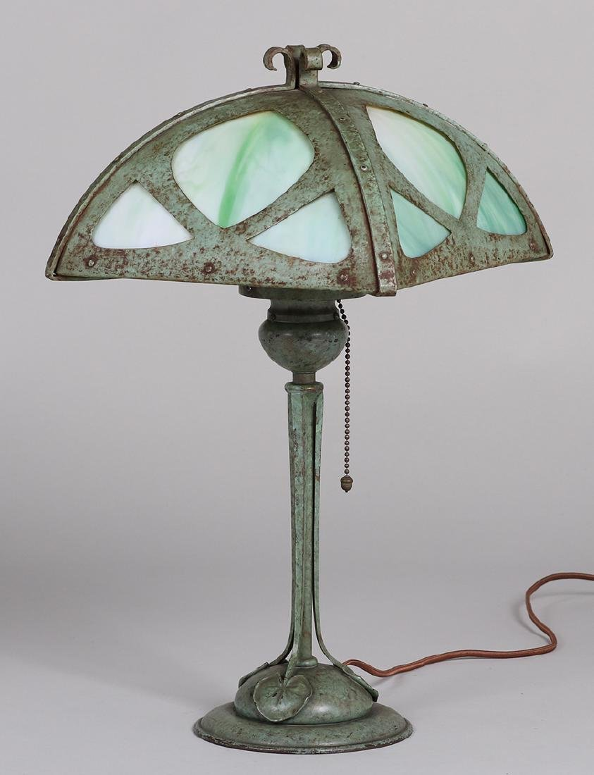 Bradley & Hubbard Lamp with Curved Green Slag Glass - 2