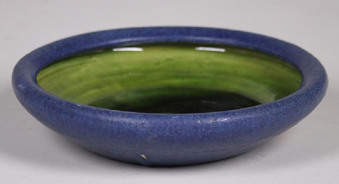 Grueby Pottery Matte Blue and Green Bowl