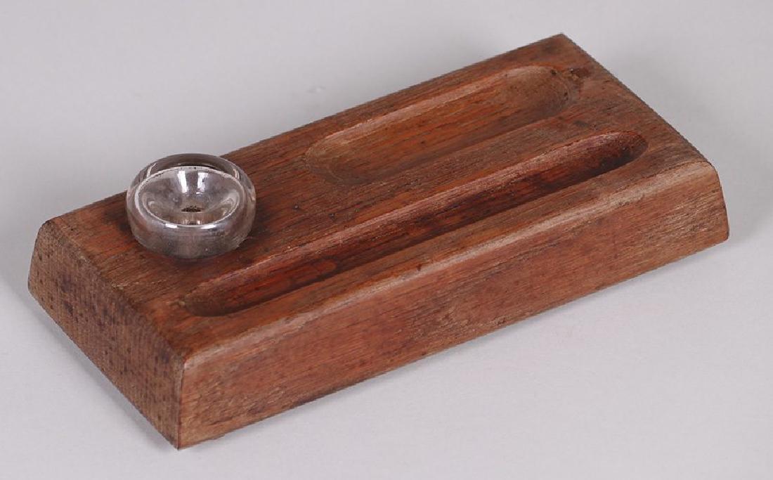 Limbert Oak Pen Tray and Inset Glass Inkwell