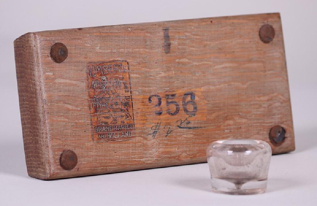 Limbert Oak Pen Tray and Inset Glass Inkwell - 3