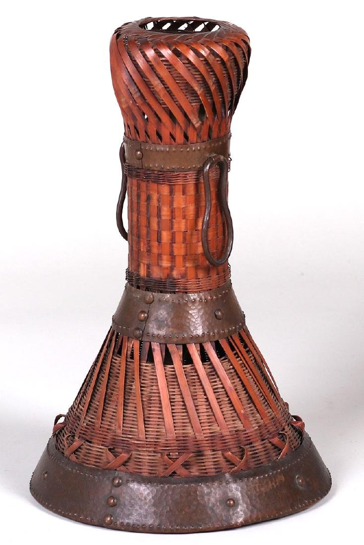 Dirk van Erp Hammered Copper Trim on a Japanese Basket