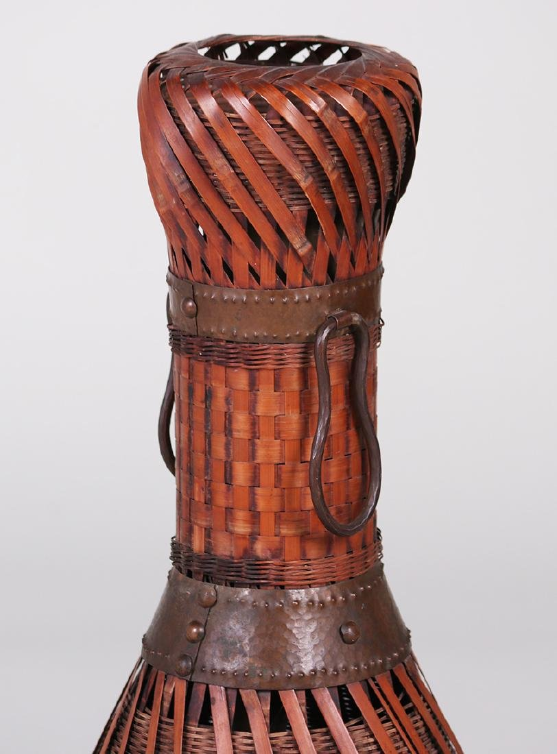 Dirk van Erp Hammered Copper Trim on a Japanese Basket - 2