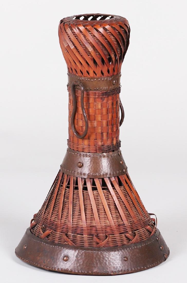 Dirk van Erp Hammered Copper Trim on a Japanese Basket - 3