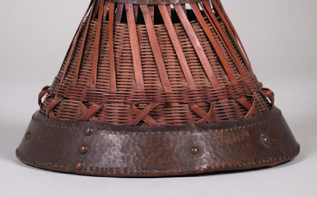 Dirk van Erp Hammered Copper Trim on a Japanese Basket - 4